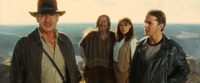 "Indiana Jones (Harrison Ford) realizes that knowledge was their treasure, and shares that treasure with Marion (Karen Allen), Oxley (John Hurt), and Mutt (Shia LaBeouf) in ""Indiana Jones and the Kingdom of the Crystal Skull."""