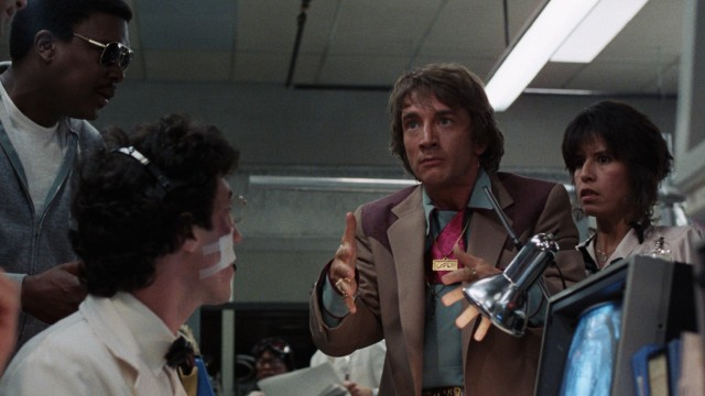 "In ""Innerspace"", grocery store cashier Jack Putter (Martin Short) has a shrunken man injected in him."