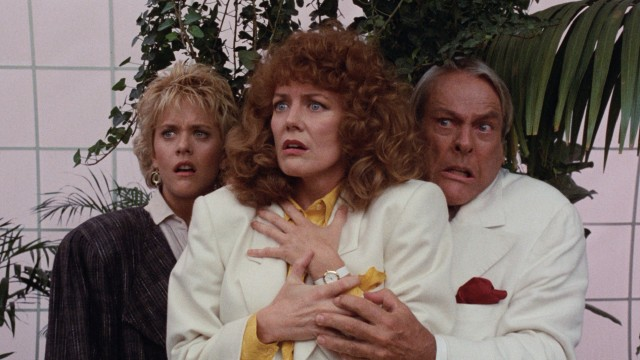 Lydia Maxwell (Meg Ryan) and foes Margaret Canker (Fiona Lewis) and Eugene Scrimshaw (Kevin McCarthy) are all surprised by what they see.