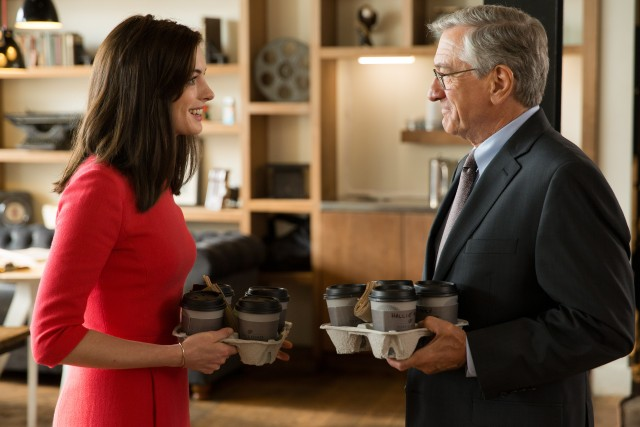 "In Nancy Meyers' ""The Intern"", a 70-year-old widower (Robert De Niro) becomes the personal intern of a clothing business' swamped CEO (Anne Hathaway)."
