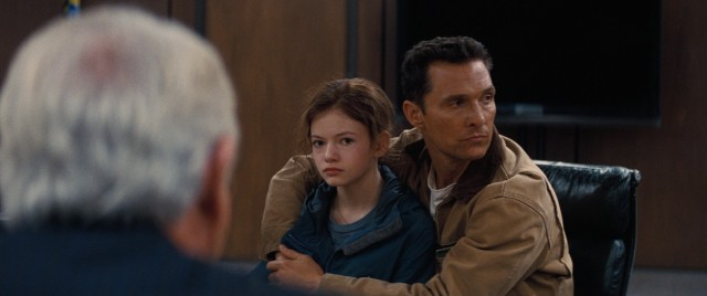 Following coordinates transmitted to them, farmer Cooper (Matthew McConaughey) and his 10-year-old daughter Murph (Mackenzie Foy) find themselves at NASA's secret headquarters.
