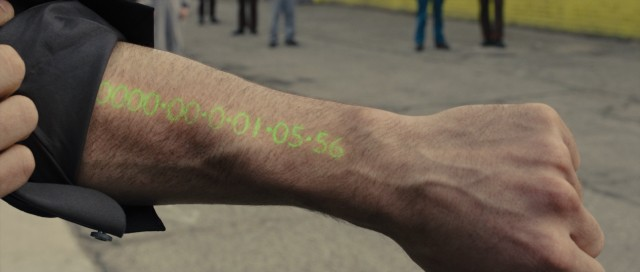 "In ""In Time"", time is money and people wear their always-decreasing bank account balance on their forearm."