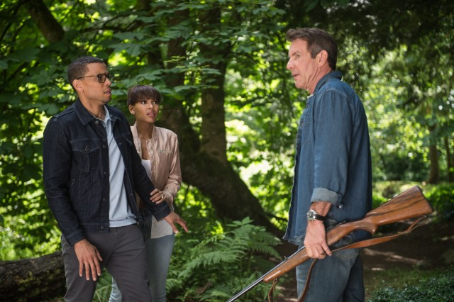 "Charlie Peck (Dennis Quaid) makes an uncomfortable first impression on prospective home buyers Scott (Michael Ealy) and Annie Howard (Meagan Good) in 2019's ""The Intruder."""