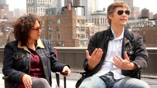 Producer Sara Nodjoumi and director Till Schauder answer questions on a rooftop for Film Movement.