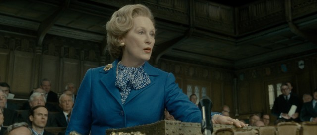 Meryl Streep plays Margaret Thatcher, a female Prime Minister in the male-dominated world of British politics.