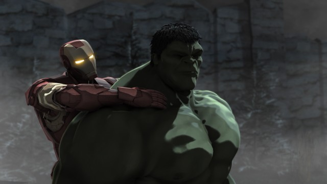 "A vision-impaired Hulk gives Iron Man in exchange for some direction in ""Iron Man & Hulk: Heroes United."""