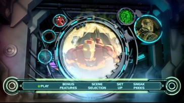 Iron Man soars among high-tech graphics on the animated Heroes United DVD main menu.
