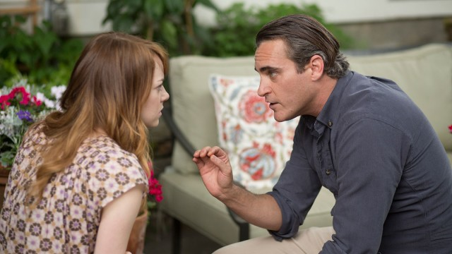 "Philosophy professor Abe Lucas (Joaquin Phoenix) deflects the romantic advances of his student Jill Pollard (Emma Stone) in Woody Allen's ""Irrational Man."""