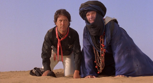 "New York songwriters Chuck Clarke (Dustin Hoffman) and Lyle Rogers (Warren Beatty) are unsure of the situation they face in the deserts of ""Ishtar."""