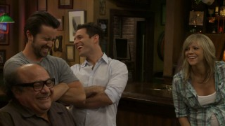 "The cast of ""It's Always Sunny"" cracks up at an unexpected ad lib in the blooper reel."
