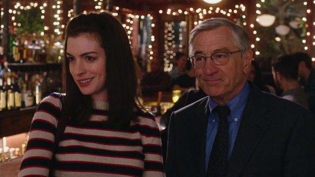 "In ""The Intern"", 70-year-old Ben Whittaker (Robert De Niro) becomes the personal intern of hard-working online clothing mogul Jules Ostin (Anne Hathaway)."
