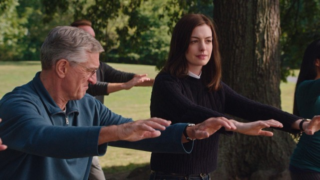 """The Intern"" inexplicably ends with Jules (Anne Hathaway) joining Ben (Robert De Niro) at his outdoor tai chi class."