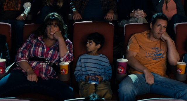 Jill (Adam Sandler) has more in common with Jack (Adam Sandler) than he would care to admit, as their synchronized theatrical gas-passing demonstrates to Jack's adopted son Gary (Rohan Chand).