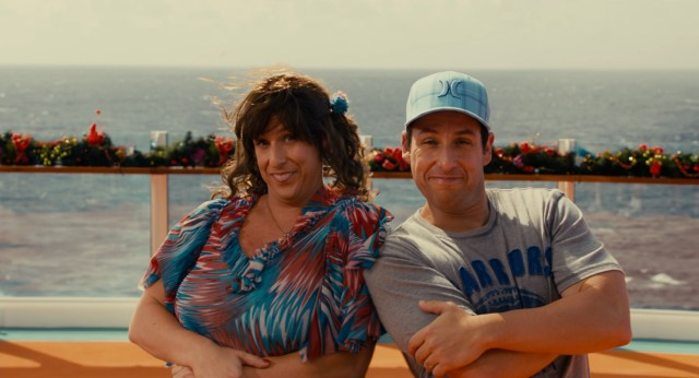 Jack and Jill (both Adam Sandler) share a smile after demonstrating their double dutch skills on a cruise ship.