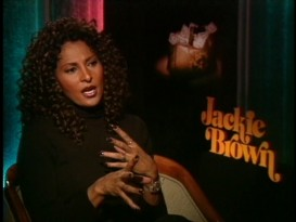 "Pam Grier sports curls in one of the release-time interviews used in ""Breaking Down 'Jackie Brown.'"""