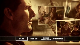 Jack Reacher (Tom Cruise) looks over photos of the sniping victims on the DVD's main menu montage.