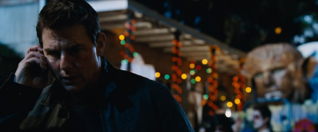 "Halloween or not, Jack Reacher (Tom Cruise) takes a pressing phone call on New Orleans' bustling Bourbon Street in ""Jack Reacher: Never Go Back"", also known as ""A Jack Reacher Halloween."""
