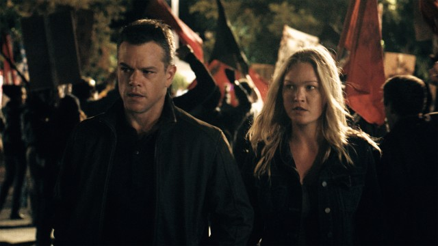 "Jason Bourne (Matt Damon) reconnects with his old colleague Nicky Parsons (Julia Stiles) in ""Jason Bourne."""