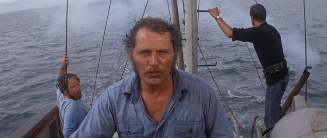 "On the search for the killer Great White, the three protagonists of ""Jaws"" (Richard Dreyfuss, Robert Shaw, and Roy Scheider) keep their eyes open and barrels ready."