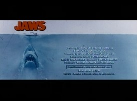 "The original theatrical trailer for ""Jaws"" closes with a credits block alongside its iconic poster art."