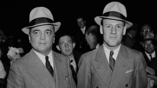 "The real J. Edgar Hoover and Clyde Tolson pose for a photograph together in ""J. Edgar: The Most Powerful Man in the World."""