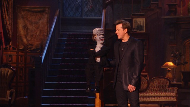 "Walter appears as Crankenstein, a cranky Frankenstein's monster, alongside Jeff Dunham in the Comedy Central special ""Minding the Monsters."""