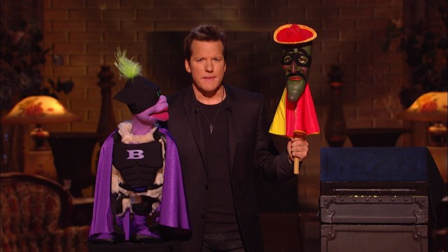 "Jeff Dunham finds himself between woozle superhero Batnut (Peanut) and his sidekick Ruben (Jose Jalape�o on a Stick) in the longest stretch of ""Minding the Monsters."""