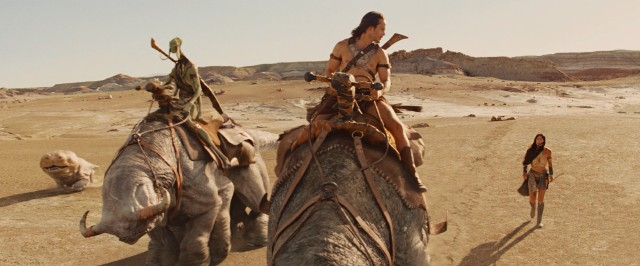 Dejah Thoris is resigned to walk as Sola and John Carter make a journey across the Barsoom desert on the backs of beasts.