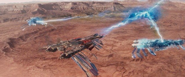 "Aircrafts take to the sky with glowing blue energy in Disney's ""John Carter."""