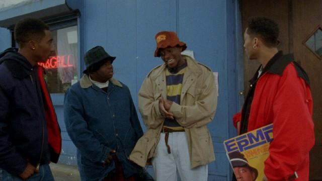 "The Wrecking Crew (Tupac Shakur, Jermaine Hopkins, Omar Epps, and Khalil Kain) calmly stands outside an active crime scene and debates whether to get involved in the pivotal scene of ""Juice."""