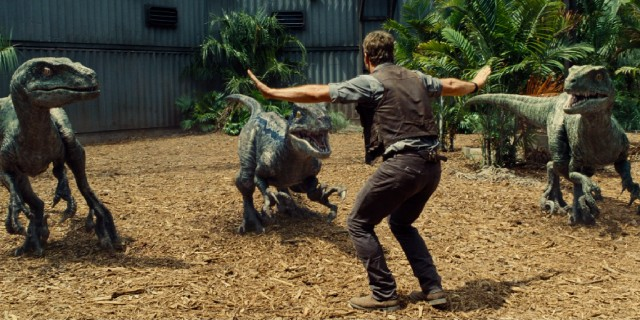 "Owen Grady (Chris Pratt) shows off his unrivaled skills as a raptor whisperer in the most imitable scene of ""Jurassic World."""