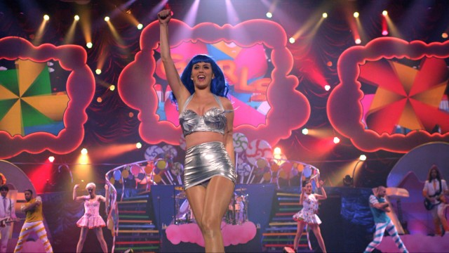 "Katy Perry rocks a top resembling Hershey's Kisses for the film's closing number ""California Gurls."""