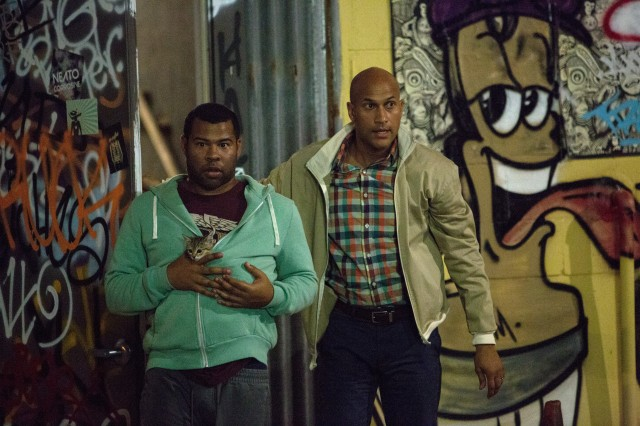 "Rell Williams (Jordan Peele) and Clarence Goobril (Keegan-Michael Key) are out of their league trying to retrieve a kitten from a gang in ""Keanu."""