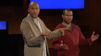 Keegan-Michael Key and Jordan Peele set up their sketches with banter in front of a live studio audience.