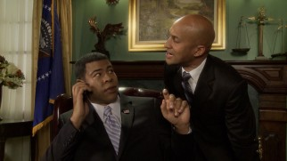 President Obama (Jordan Peele) calms his anger translator Luther (Keegan-Michael Key) in a bonus phone conversation with Michelle.