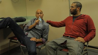 Key and Peele prepare backstage for their set at the South Beach Comedy Festival.