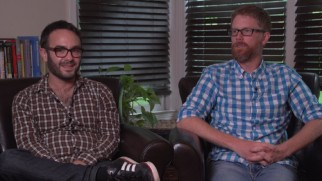 Bearded friends and co-writers John Krokidas and Austin Bunn answer questions in plaid.