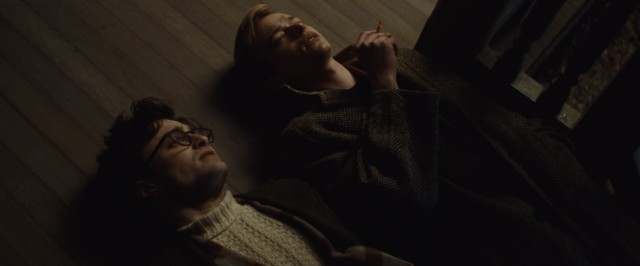 "Allen Ginsberg (Daniel Radcliffe) and Lucien Carr (Dane DeHaan) lay back and enjoy the moment in ""Kill Your Darlings."""