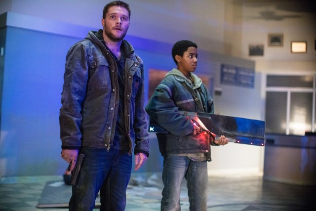 "In ""Kin"", big brother Jimmy (Jack Reynor) has a small gun, while little brother Eli (Myles Truitt) has a big, powerful ray gun."