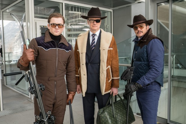 Kingsman agents Eggsy (Taron Egerton) and Harry Hart (Colin Firth) team up with Whiskey (Pedro Pascal), a lasso-skilled member of Kentucky's Statesman agency.