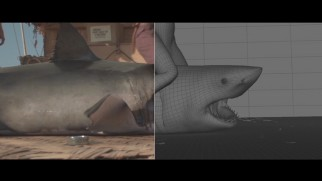 VFX Breakdowns dissect the film's use of visual effects, as in this shark-wrestling scene.