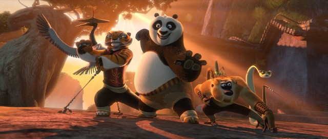 "Po and the legendary Furious Five (left to right, Crane, Tigress, Mantis, Monkey, and Viper) are back in ""Kung Fu Panda 2."""