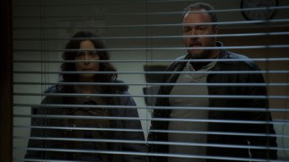 Mitch (Michelle Forbes) and Stan Larsen (Brent Sexton) are shocked to see graphic photos of their daughter's corpse on display in front of them.