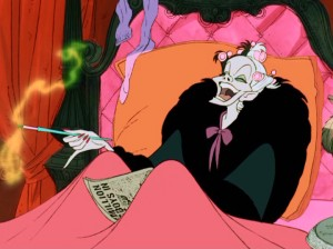 "In bed, Cruella laughs at the news of others' misfortune in Disney's ""101 Dalmatians"", now back on DVD."