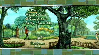Disc 1's animated main menu takes us out to the park, where human/dog couples stroll by.