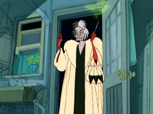 Cruella De Vil appears at the Radcliffs' door with green smoke emitting from her cigarette holder and an appropriate lightning clap.