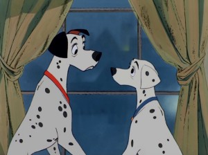 Pongo and Perdita exchange the looks of concerned lovers whose brood has just been dognapped in full.