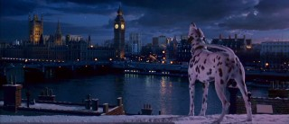 Inciting the famed Twilight Bark, Pongo lets out a grand call in front of London's skyline.
