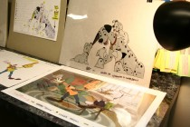 "Cels from ""One Hundred and One Dalmatians"" and a Goofy short are displayed."