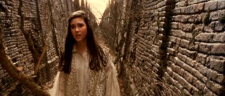 A teenaged Jennifer Connelly plays Sarah Williams, a 15-year-old girl who must find her way through a confusing labyrinth to rescue her baby brother.